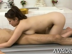 Skinny mom poses her cunt on hard cock while deepthroating