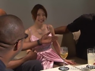 Japanese hussy gets her pussy fingered and torn up by a black dude