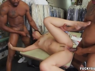Mila has a black cock addiction, and the only way she can be satisfied, is by having a big black cock in her pussy and another big black cock in her mouth. She is rammed hard by these two massive and hung ebony studs.
