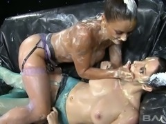 Big tittied yummy lesbians perform super hot messy copulation using food