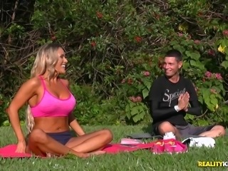 Busty blonde seduced by a horny yoga instructor for a great fuck