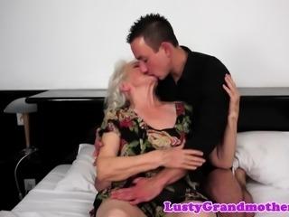 Hairy grandma titfucked before cumplaying
