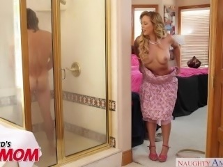 MILF Cherie DeVille seduces her son's friend in the shower Naughty America