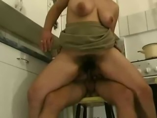 Very wet,hairy mature fucking young guy