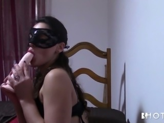 Masked Sasha Tuga fingering wet throbbing vagina in solo clip