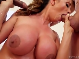 Bosomy spoiled mommy swallows giant black cock and white big sausage as well