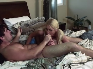 Blonde in pigtails rides cock and explores foot fetish