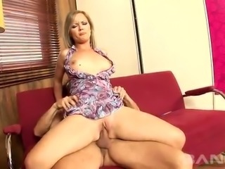 Yummy blond sex pot Sunny Diamond sucks giant dick and then rides it ardently