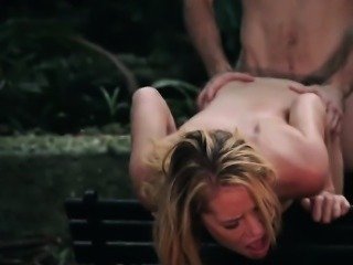 Raylin Ann fucked hard by a perverted stalker in the woods