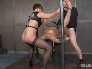 Hot blonde white lady bound and facefucked upside down inthe basement