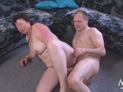 Chubby granny with saggy titties fucking dirty in provocative porn clip