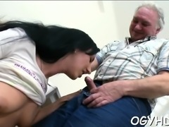 Charming young honey gets seduced by a lewd old fucker