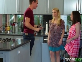 Lily Jordan and Sarah Vandella invite a fellow for a great threesome