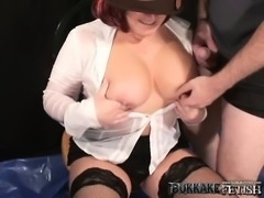 Busty redheaded chick lifts her skirt up so she can get slammed