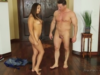 Raven haired sweet bitch in sexy nightie Sara Luvv met horny stud with erotic massage