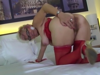 Mature blonde dolls up for a great masturbation session