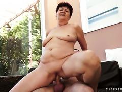 Brunette with juicy jugs finds herself getting slammed again