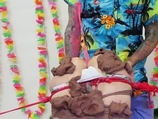 Hot pornstar bondage with cum swallow