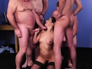 Naughty looker gets cumshot on her face sucking all the load