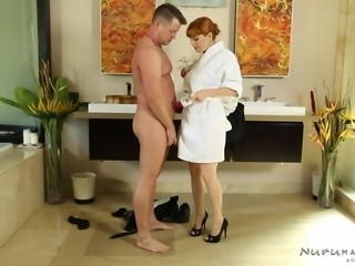 redhead lathers up his cock with soap