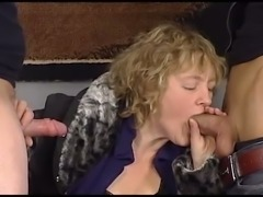 Chubby blond cougar pleases young stud and old freak with stout BJ