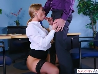 blonde milf seducing handsome boss