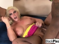 Busty MILF Kelli gets both black and Asian dick