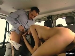 Cute Victoria spreads her legs for a stiff dick in a car