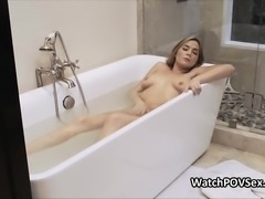 Wet gf busted in tub and fucked