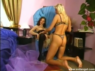 Dazzling blonde with well-shaped butt gives nice handjob to her friend