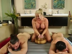 Mature big boobed blonde had fancy 3 some sex with a couple of horny dudes in...