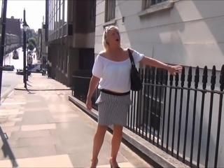Mature flashing mum outdoors with sexy exhibitionist milf Jerry showing tits...