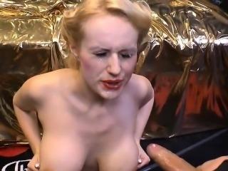 Big boobs with piercings gets bukkakes