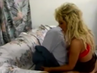 Blonde babe blows cock and rides like cowgirl