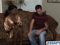 Hot interracial blowjob on the massage