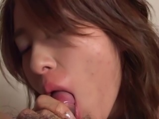Horny old guy gets his dick sucked by a cute Japanese girl