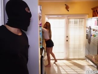 Nicole didn't notice that there was a burglar in her house, but when he confronted her, is actually turned her on. She loved being tied up and bound. His bulge in his pants turned her on so much, that she had to suck him off.