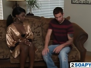Hot interracial blowjob on the massage