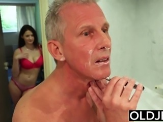 Old and young hot wife likes to get fucked by old man cock