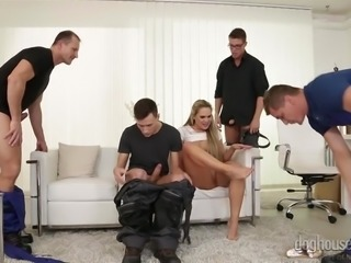 My wife was not satisfied with my sex performance, so I brought three guys to fuck her. One shoved dick in her asshole, while the other was fucking her pussy. She was screaming loud, so the third gagged her throat with his fat dick, while I was caressing her breasts. In the end, we all cummed on her face.