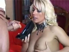 Stockinged milf drinks cum from her heels 183.SMYT