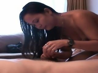 Horny Filipina Rubs her Pussy and Sucks Dick