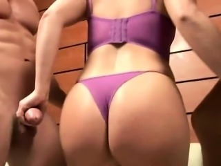Big Booty Babe Selina Pleases Two Guys