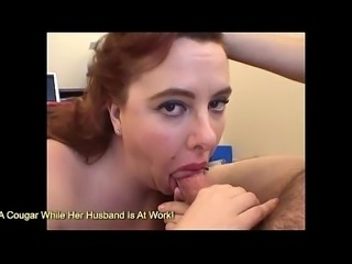 Giant breast redhead blowing and facial at home