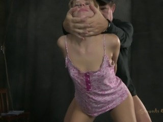 Slave with long hair face fucked roughly in BDSM porn