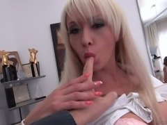 Hot blonde sassy sluts in sexy dress share one man for hardcore sex