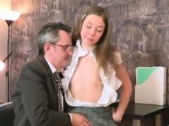 Erotic schoolgirl was seduced and rode by her senior teacher