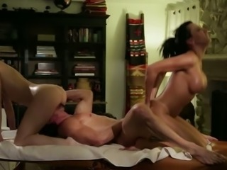 Oiled up hottie with big boobs are fucking dirty in FFM threesome