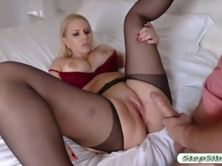 Sexy blonde stepmom jizzed on big tits after getting fucked