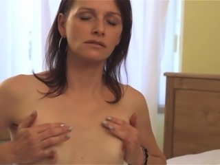 Lonely woman in sexy lingerie is happy to make herself cum